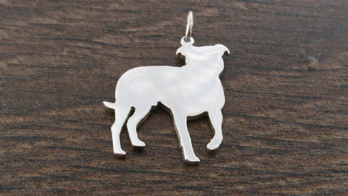 staffordshire bull terrier Charm silhouette solid sterling silver Handmade in the Uk